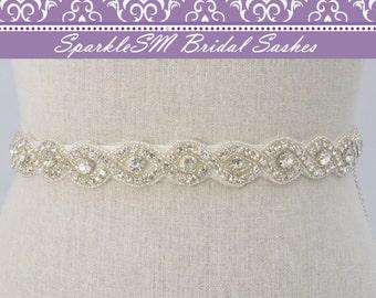 Rhinestone Sash, Crystal Bridal Sash, Bridesmaids Sash, Swarovski Sash, Jeweled Bridal Belt, Prom Sash, Crystal Belt, Wedding Dress Sash