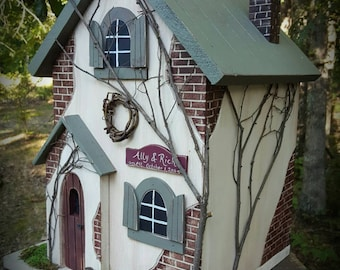 Wedding Card Box Birdhouse Money Holder Primitive Fairy Cottage ~ Bird House  ~  Centerpiece ~ Personalized for you