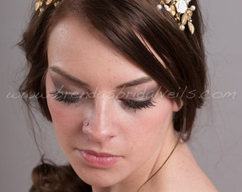 Gold Bridal Headpiece, Gold Rhinestone Wedding Hair Piece, Gold an Ivory Bridal Crown - Nena