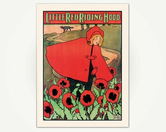Little Red Riding Hood Vintage Children's Book Illustration Print