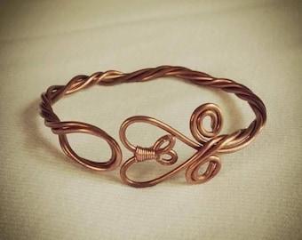 Twisted Copper Heart Bracelet.