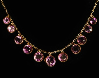 Stunning Antique Amethyst Gold Necklace 15K 15ct Gold Period Jewellery J848