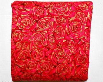 Fabric -1 yd piece -Metallic Packed Rose/Roses Floral/Pink/Red/Burgandy Flowers/Gold Metallic- (#yd068) Timeless Treasures