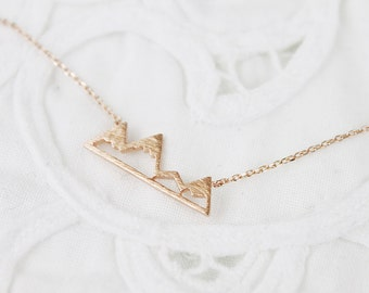 Rose Gold Mountain Necklace Mountain Top Necklace Bridesmaid Gift Dainty and Delicate Necklace