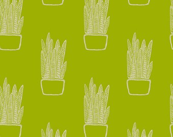 Snake Plant in Chartreuse - Tiger Plant by Sarah Golden - cotton linen fabric