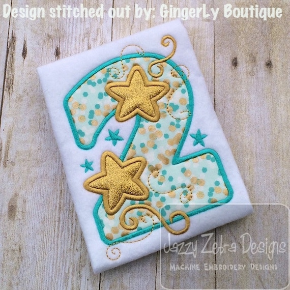 Two Stars Appliqu Embroidery Design 2nd Birthday Day Appliqu