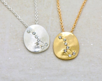Hand Made Little Dipper Necklace - 18k Gold Plated or Sterling Silver Plated Constellation Pendant Necklace - Zodiac Charm and Chain