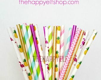Flamingo party straws. tropical straws. pineapple straws. flamingo straws. flamingo party suppy. paper straw. watermelon straws. luau party
