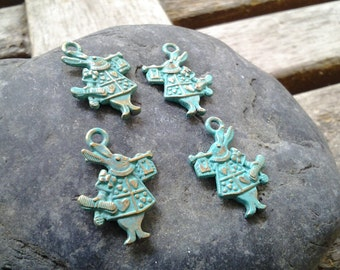Handpainted Verdigris Patina Alice theme Bunny Metal Charms (double sided) (18025) 20x13mm