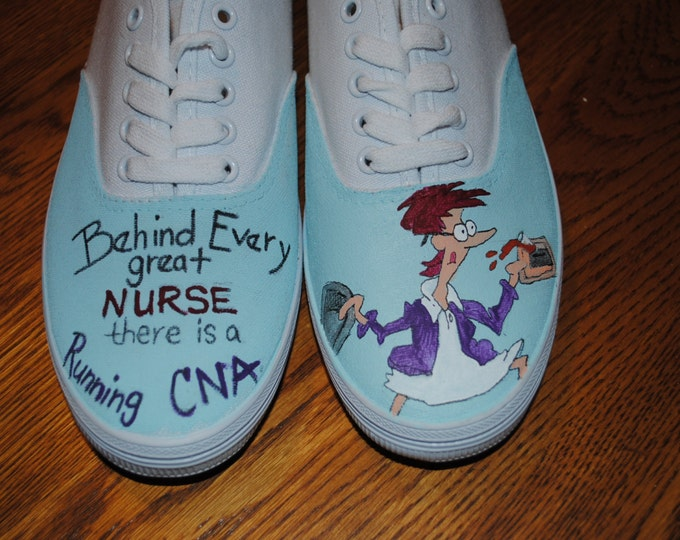 "For Sale New CNA design "" Behind Every great NURSE there is a Running CNA""  for sale size 8.5 ready to ship"
