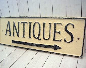 Antiques Cast Iron Sign Creamy Off White Ecru Door Decor Rustic Shabby Elegance Antique Arrow Advertising Business Store Shop Booth Plaque