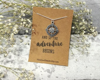 Compass Necklace, Compass Jewelry, Compass Pendant, Adventure Necklace, Travel Jewelry, Travel Gift, Travel Necklace, Compass Charm, Compass
