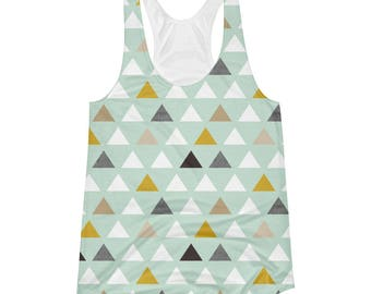 Pellerina Mod Mint Women's Racerback Tank.. womens top athletic yoga shirt