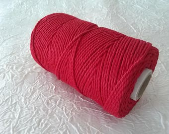 Cotton cord. Twisted cotton cord. Cotton rope. Macrame rope - spool of 100% cotton rope - 3 mm - bright red.