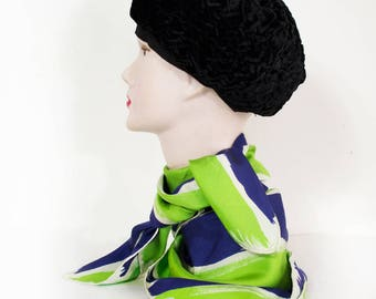 GIVENCHY Silk scarf brush stroke green, electric blue, white / vintage 1970 /