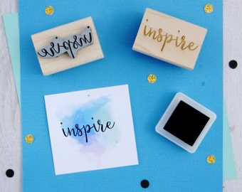 Inspire Sentiment Text Rubber Stamp - Inspiration Stamper - Script Style Font - Card Making - Scrapbooking - Motivate - Motivational