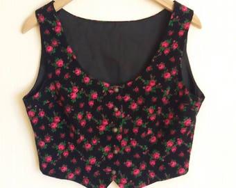 Vintage Black/Pink Rosin Womens Corduroy Vest Large Size