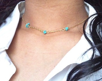 Delicate Turquoise Tiny Bead Necklace, Tiny Turquoise Necklace, Dainty Turquoise Necklace, Simple Turquoise Necklace, Thin Gold Necklace