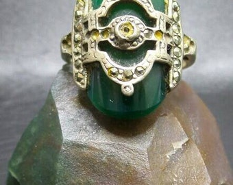 Vintage Adventurine Sterling Silver Ring, size 5.75