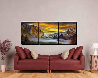 Yosemite Painting,Yosemite Large Canvas Art,Yosemite Oil Painting,Yosemite Wall Art,Landscape Oil Painting,Yosemite Wall Art,Yosemite Art
