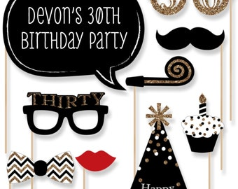30th Birthday - Gold Party Photo Booth Props - Adult Birthday Party Photobooth Kit with Custom Talk Bubble - 20 Pieces