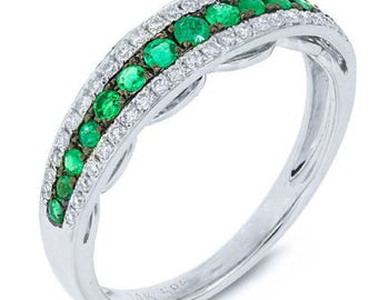 0.51 CT 14K White Gold Round Cut Emerald Gemstone and Diamond Band Ring