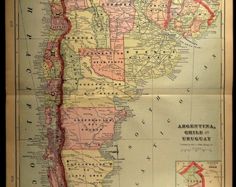 South America Map LARGE Map of Argentina Uruguay Chile