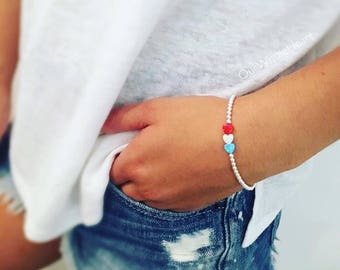 NEW! Red White and Blue Opal Heart Bracelet in Sterling Silver Gold Filled or Rose Gold Filled, July 4th Jewelry, America Bracelet