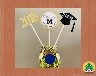 U of M Graduation Centerpiece/Class of 2018/U of M Cake Topper/Graduation Party Decoration/Graduation/U of M Centerpiece/Graduation Decor