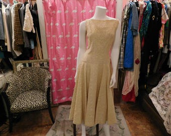 1950's Beige lace dress over satin/ swing skirt / pin-up/ true vintage/ vintage couture/