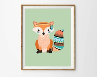 Tribal fox print, 5 x 7 in, 8 x 10 in, Baby art, Nursery wall print, Toddler room decor, Kids room art, Baby decor, Printable Art