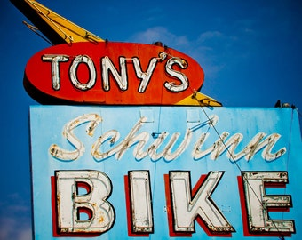 Vintage Tony's Schwinn Bike Neon Sign | Retro Home Decor | Bicycle Lover's Gift | Los Angeles Art | Fine Art Photography