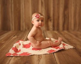 Valentines Tieback - Newborn Tieback, Newborn Photo Prop, Newborn Halo, Baby Tieback, Red Pink Flower Tieback, Valentines Headband, Vintage