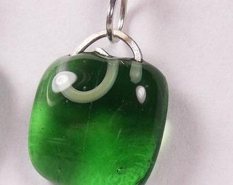 Emerald Green Mini Glass Earrings