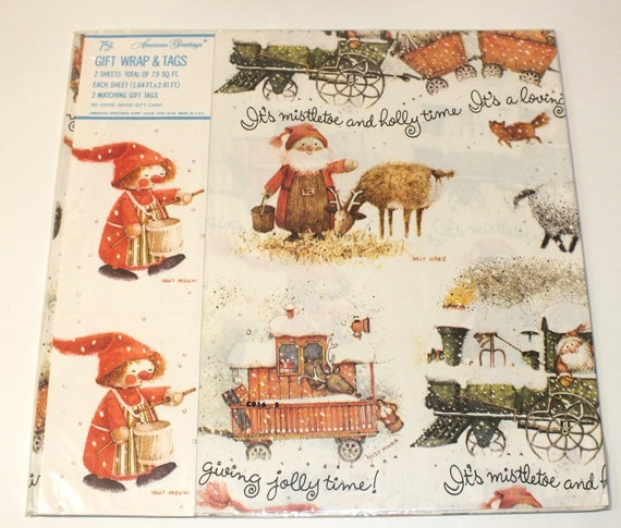 Vintage american greetings gift wrap christmas holiday holly hobbie vintage american greetings gift wrap christmas holiday holly hobbie drummer boy wrapping paper crafts scrapbooking from 80stoyhunter on etsy studio m4hsunfo