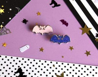 Sweet Baby Bat - Iridescent Glitter Hard Enamel Pin