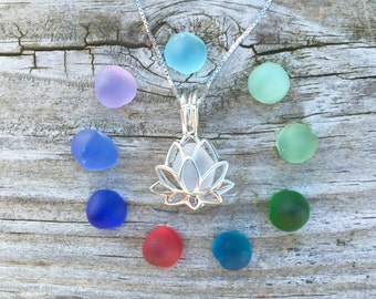 Sea Glass Set Lotus Necklace Sterling Silver Locket Yoga Beach Colorful by Wave of LIfe