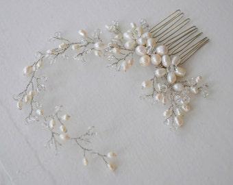 Freshwater pearl bridal headpiece, bridal hair comb, wedding hair comb, bridal accessories, pearl hair comb, bridal headpiece