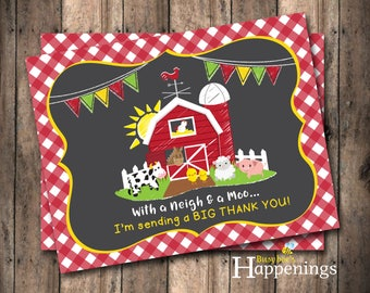 Farm Thank You Card Farm Thank You Note Barnyard Thank You Note Farm Birthday Party Instant Download Digital File by Busy bee's Happenings