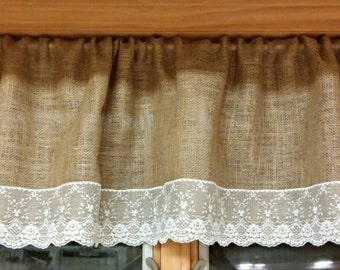 Burlap and lace valence curtain window treatment