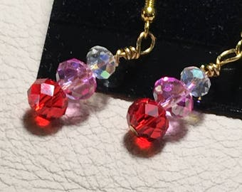 Sweetheart Crystal  Beaded Earrings in Red, Pink, and White.