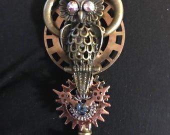 Bronze steampunk owl skeleton key