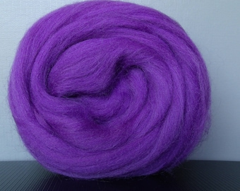 25g wool felting or spinning carded purple worsted Merino