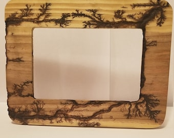 Fractal burn picture frame.  Made from pine with a clear finish