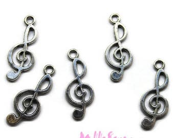 Set of 5 charm treble clef silver embellishment scrapbooking *.