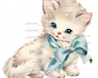 Digital Download Kitten with Blue Bow Vintage Image Collage Large JPG PNG