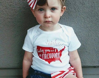 Baby You're A Firework Onesie, 4th of July Onesie, 4th of July Shirt, Patriotic Onesie, Patriotic Shirt, Memorial Day, Memorial Day Onesie