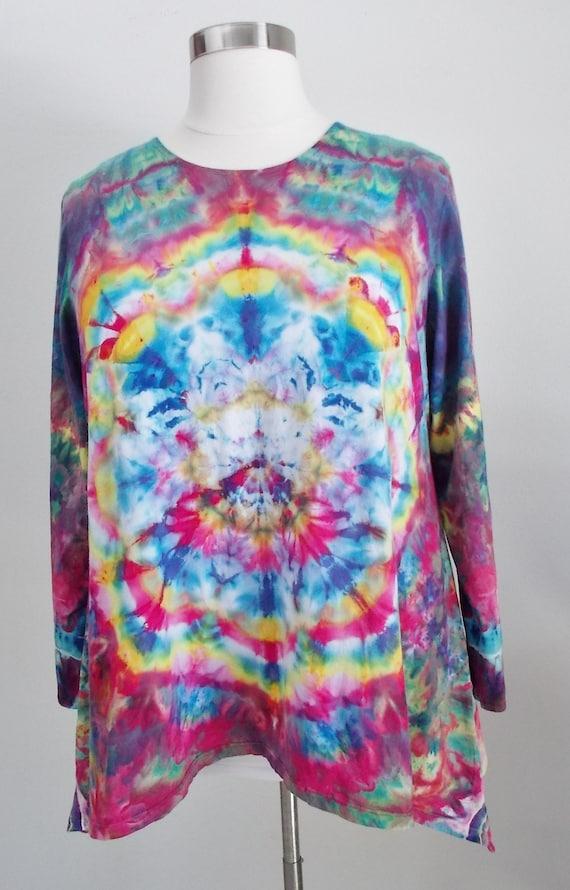 Hanky hem tunic Ice dye tie dye Women's  Long Sleeve Cotton Shirt 3XL