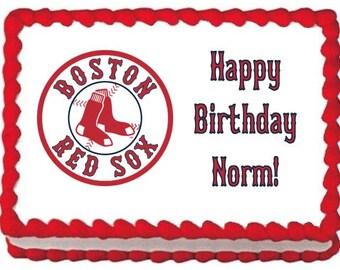 Boston Red Sox Edible Photo Cake Topper