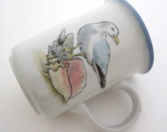 Otagiri Stoneware Mug SEASHORE BIRDS & SHELLS Bob Harrison Japan